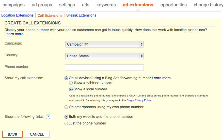 bing call extensions