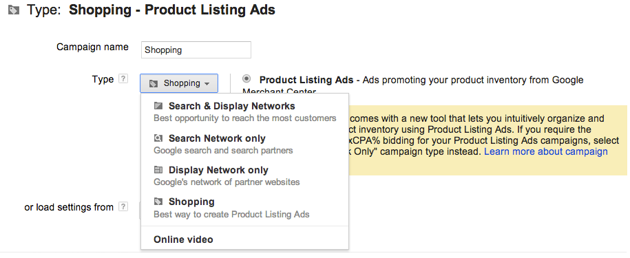 google adwords shopping campaign